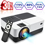 Wsiiroon LCD Projector, 2018 Newest 2500 Lumens Portable Movie Video Projector, Dolby Surround Sound Home Theater LED Projector Support 1080P HDMI VGA AV USB MicroSD with 170