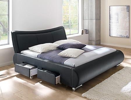 Polsterbett schwarz Bett 180x200 Kunstleder 4x Schubkasten Bettgestell Doppelbett Designerbett Lando