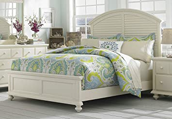 Broyhill Seabrooke 4471-254/-255/-455 Panel Bed with Arched Headboard Louvered Design and Molding Details in Cream Finish California