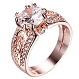 Junxin 10 KT Rose Gold plated Ring, Two Rows of Small Birthday Stone, The Middle of a Big Stone (8)