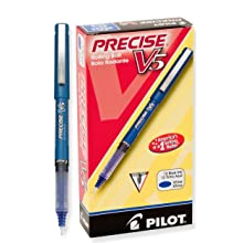 Pilot Precise V5 Stick Rolling Ball Pens, Extra Fine Point, Blue Ink, Dozen Box (35335)
