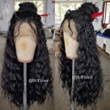 QD-Tizer 180 Density Long Loose Curly Synthetic Lace Front Wigs Black Color Hair for Fashion Women (Color: Black LC-1)