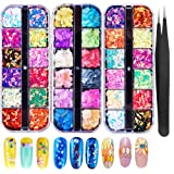 3 Boxes Nail Glitter Sequins 3D Nail Art Decorations Manicure Tips Supplies Chunky Colorful Iridescent Flakes Nails DIY Mixed Mermaid Paillette Design Sticker Face Nail Art Decals(Free tweezers 1pcs) (Color: Combination-3)