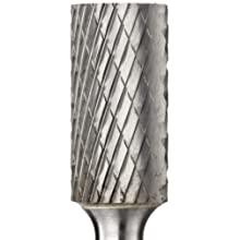 PFERD Cylindrical Carbide Bur, Long-Length, Uncoated (Bright) Finish, Double Cut, Plain End