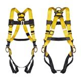 3 D-Ring Industrial Fall Protection Safety Harness ANSI Compliant Full Body Personal Protection Equipment 5-Point Adjustment Universal 310 lbs (Color: Pass-Through Buckle, Tamaño: 3 D-Ring Harness Basic)