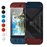 Dockable Case for Nintendo Switch, FYOUNG Protective Accessories Cover Case for Nintendo Switch and Nintendo Switch Joy-Con Controller with a Tempered Glass Screen Protector - Clear Black (Color: Clear)