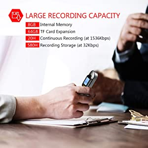 Digital Voice Recorder, 8GB 1536 Kbps Voice Recorder with MP3 Player, 64GB TF Card Extend Voice Activated Recorder with Rechargeable, Password Protection, A-B Repeat for Meetings, Lectures, Interviews (Color: Sliver-8G)