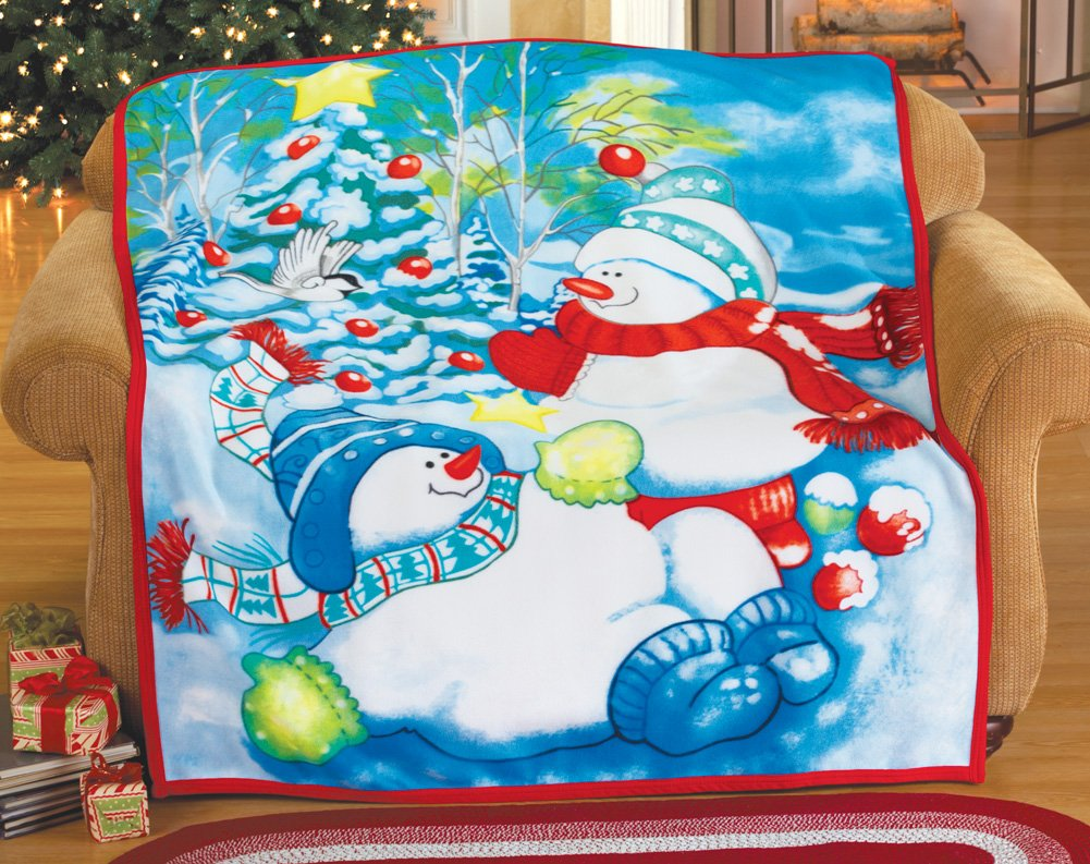 Snowman Friends Holiday Fleece Throw Blanket