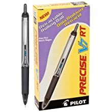 Pilot Precise V7 RT Retractable Rolling Ball Pens, Fine Point, Black Ink, Dozen Box (26067)