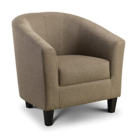 Hugo Tub Chair Contemporary Style Mushroom Linen Style Fabric