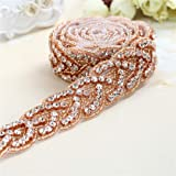 Rose Gold Bridal Gown Sash Rhinestone Applique DIY Wedding Belt by Sewing or Ironing on -1 Piece(1