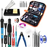 Soldering Iron Kit Electronics, 21-in-1, 60W Adjustable Temperature Soldering Iron, 5pcs Soldering Iron Tips, Soldering Iron Stand, Desoldering Pump, Magnifier, Solder Wire, Tweezer, PU Carry Bag (Color: F)