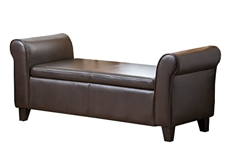 Abbyson Living Easton Bonded Leather Storage Ottoman Bench