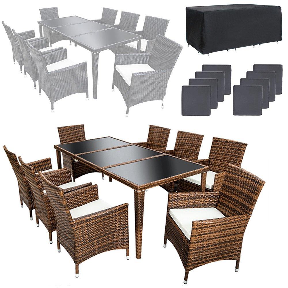 TecTake Poly Rattan Aluminium Gartenmöbel Gartengarnitur Essgruppe Gartenset Sitzgruppe 8+1 schwarz + 2 Bezugsets + Regenhaube, Edelstahlschrauben – diverse Farben – (Braun) kaufen