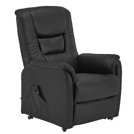 Fernsehsessel aus Leder mit Aufstehhilfe elektrisch motorig Relaxsessel TV Ledersessel schwarz