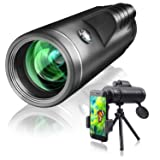 Qhui Monocular Telescope 40x60 with Extendable Tripod and Smartphone Adapter Waterproof Fogproof Low Light Version High Powered HD BAK4 Prism FMC Lens