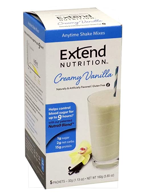 Extend Shake, Creamy Vanilla, 5-Count Servings 32g (1.13oz ) Packets, Net Wt. 5.65 oz