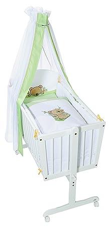 Easy Baby 882–02–Culla completa con rotelle, inclusi biancheria, materasso e supporto per baldacchino, motivo orso a dondolo, bianco/verde