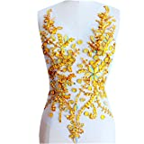 Pure Hand Made Crystals Patches Gold Sew on Rhinestone Applique Knit Trim 50 x 30 cm Dress Accessory (Color: gold)