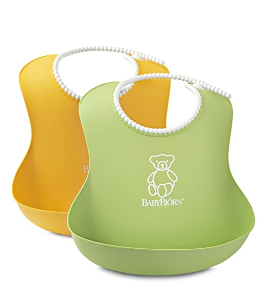 BABYBJORN Soft Bib, Green/Yellow, 2 Pack
