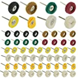 60 PCS Mini Polishing Pad Abrasive Buffing Wheel Brushes Mixed Set, Cashmere brush+ Wool felt brush + Fiber Polishing Abrasive wheel + Leather polishing wheel + Cloth polishing wheel, for Dremel Rotar