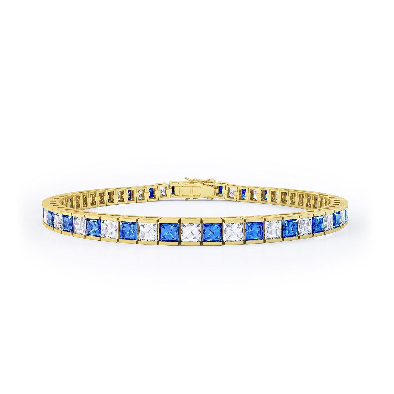 Prizess-Schliff Saphir und Diamant Damen-Armband – Silber – Gelbgold schenken