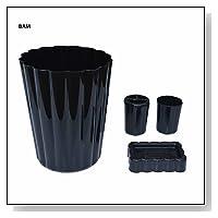 4 PIECE BATH SET: Wastebasket, Soap Dish, Drinking Cup, Toothbrush Holder: BLACK
