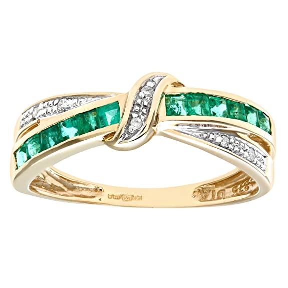 Naava 9ct Yellow Gold Emerald And Diamond Bow Ring