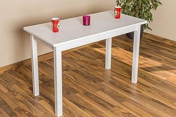 Massivholz Esstisch 60x120 cm Kiefer, Farbe: Weiß