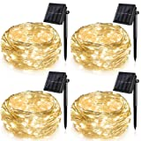 Ankway Solar String Lights 4 Pack, 100 LED Solar Fairy Lights 39 ft 8 Modes 3 Strands Copper Wire Lights Waterproof Outdoor String Lights for Garden Patio Christmas Tree Indoor Bedroom (Warm White) (Color: warm white, Tamaño: 4 Pack)