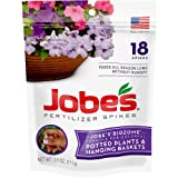 Jobe's Fertilizer Spikes for Flowering Plants 8-9-12 Time Release Fertilizer for Hanging Baskets andPotted Plants, 18 Spikes per Package (Tamaño: 18 Spikes)