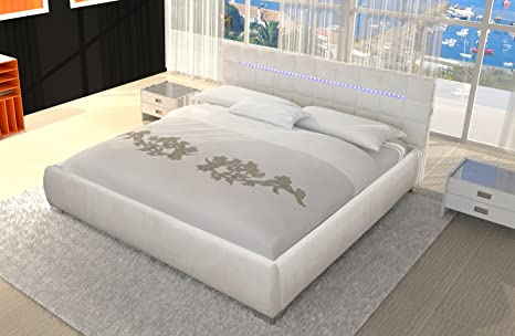 SAM® Designbett Weiß 140 x 200 cm VITA LED Polsterbett Bett exklusiv LED Beleuchtung