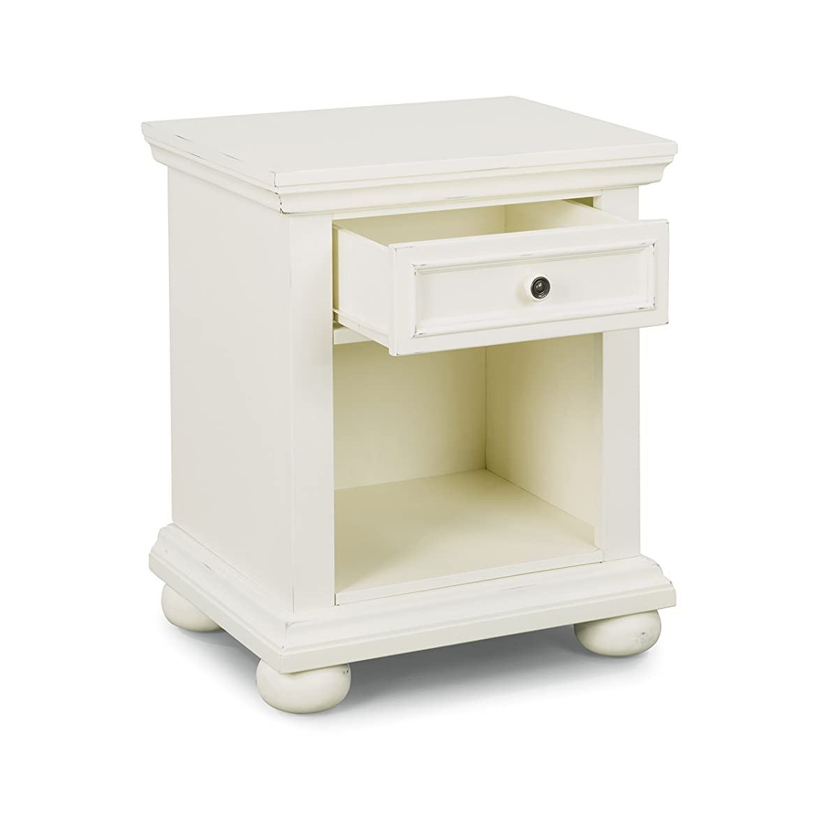 Home Styles 5427-5023 Dover Queen Bed with Nightstand and Dresser & Mirror, Antique White