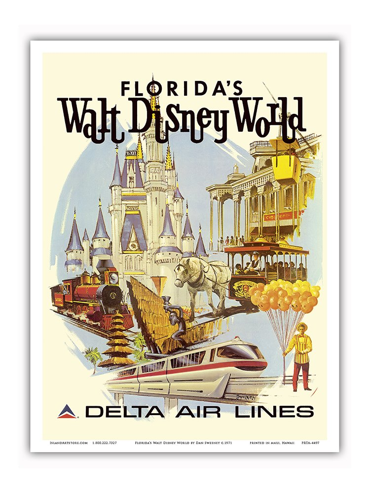 Florida's Walt Disney World - First Year of Operation - Delta Air Lines - Vintage Airline Travel Poster by Daniel C. Sweeney c.1971 - Master Art Print - 9in x 12in 0