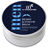 ArtNaturals Mustache and Beard Balm-Wax - 2 oz - Natural Oil Leave In Conditioner that Soothes Itching, Thickens, Strengthens, Softens, Tames and Styles Facial Hair Growth (Color: Beard Balm, Tamaño: 2 Oz / 60g)
