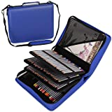 Shulaner 180 Slots PU Leather Colored Pencil Case Organizer Large Capacity Carrying Bag for Prismacolor Watercolor Pencils, Crayola Colored Pencils, Marco Pens, Gel Pens (Blue, 180) (Color: Blue, Tamaño: 180)
