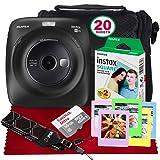 Fujifilm Instax Square SQ20 Hybrid Instant Camera (Black) - Basic Accessory Bundle with 20 Sheets of Instant Film + 16GB Micro sd Card + Case + Xpix Camera Strap and More. (USA Warrantty) (Color: Black, Tamaño: Black)