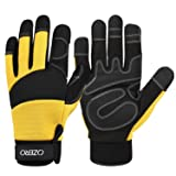 Women Garden Gloves, OZERO Synthetic Leather Work Gloves - Shrink Resistant, with Flex Touch Screen Fingertips XL (Color: Black-Yellow, Tamaño: X-Large)