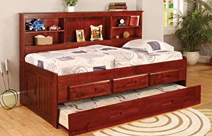 Twin Daybed Bookcase with 3 Drawers and Trundle, Entertainment Dresser in Merlot Finish