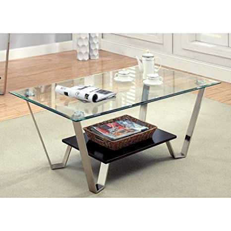 Furniture of America Ardea Beveled Glass Top Coffee Table - Chrome / Espresso