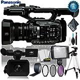 Panasonic AG-UX90 4K/HD Industry Camcorder + Industry Led Light w/ 72 Inch Heavy-Duty Tripod + 3PC Filter Kit + Gaffer Tape + Cleaning Kit w/ (2 YR Warranty) (Color: Lighting/Tripod Kit)