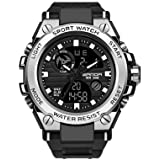 Men's Military Watch Outdoor Sports Electronic Watch Tactical Army Wristwatch LED Stopwatch Waterproof Digital Analog Watches (Color: silver)
