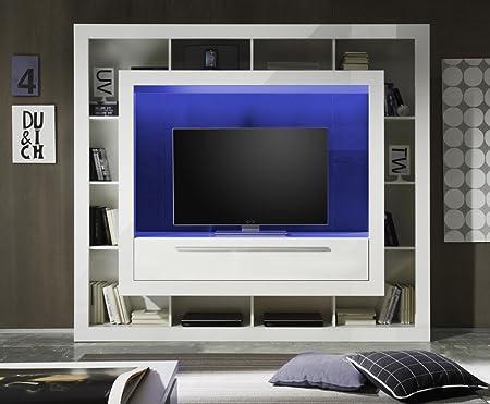 Dreams4Home Medienschrank 'Malou', Schrank Vitrine TV-Schrank Wohnwand Wohnelement Wohnzimmer Regalwand Hochglanz weiß oder weiß mit Hochglanz schwarz, Beleuchtung:RGB Farbwechsel Nischbeleuchtung;Farbe:Hochglanz Weiß