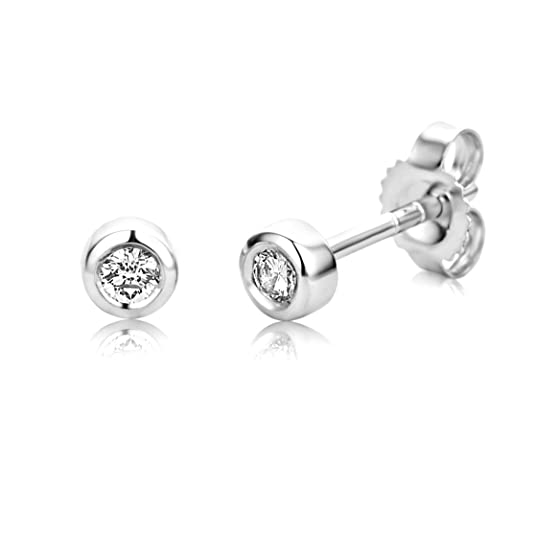 Miore 9 ct White Gold 0.1 ct Diamond Stud Earrings