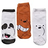 We Bare Bear Faces Adult 3-pack Low-cut Socks (Color: Multi, Tamaño: shoe size 4-10)
