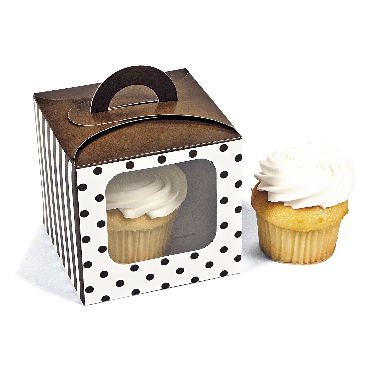 Chocolate Brown Polka Dot Cupcake Boxes