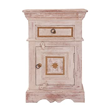 Vical Home New Jaipur - Mesita con 1 cajón, color crema