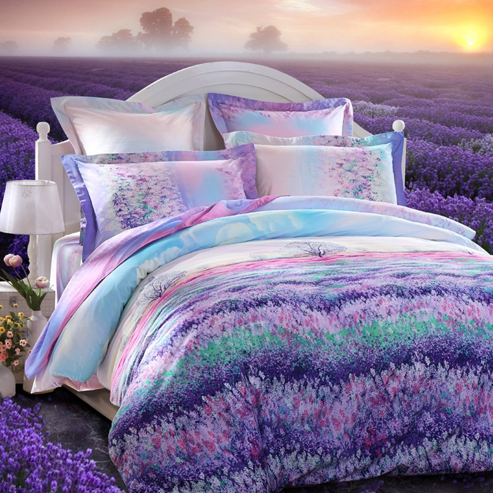 LOVO Fragrance of Provence Beautiful 100% Cotton 3-Piece Bedding Set 1x Duvet Cover and 2x Pillow Covers Purple Queen