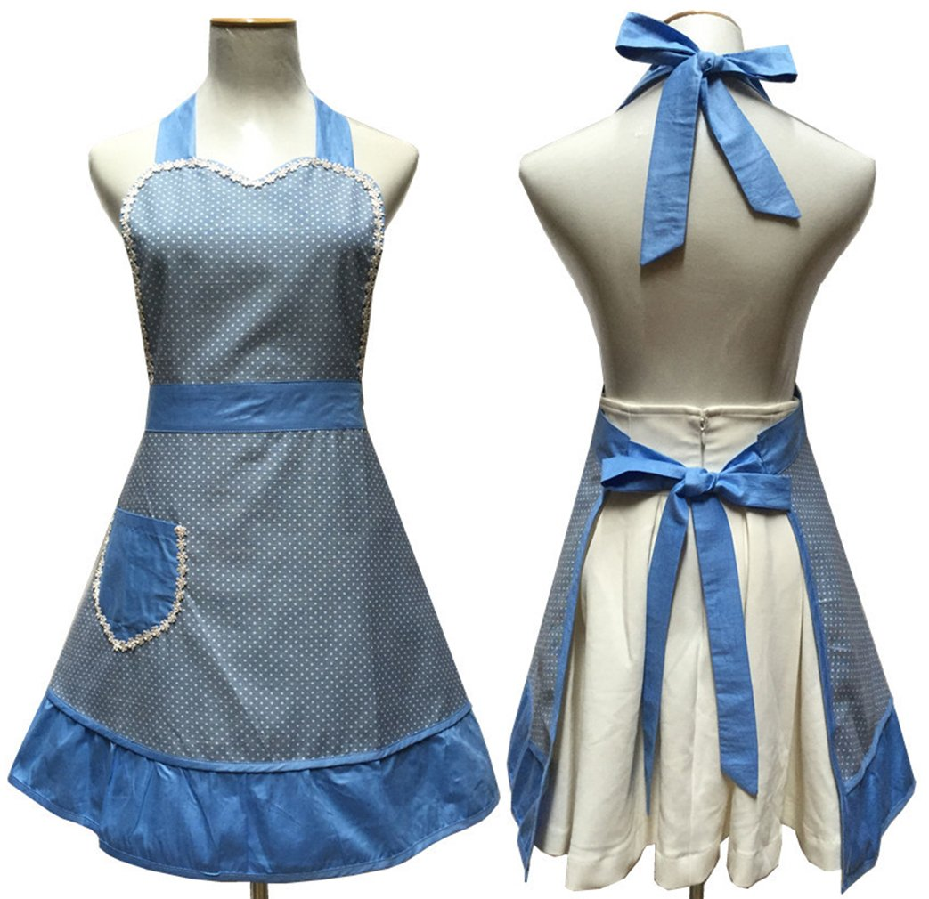 Lovely Sweetheart Retro Kitchen Aprons Woman Girl Cotton Cooking Salon Pinafore Vintage Apron Dress with Pocket,Blue 0