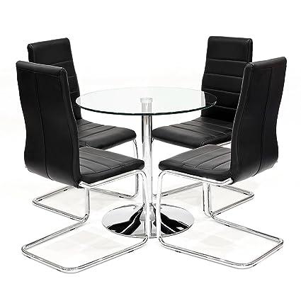 Klar Glas rund Esstisch mit 4x schwarz Kunstleder Svenska Esszimmerstuhle